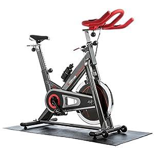 Ultrasport Premium Indoor SpinRacer 500 Fitnessbike mit Handpuls-Sensoren, Ergometer inkl. Trinkflasche und Multifunktionsmatte, Profi-Hometrainer für Ausdauer- und Leistungssport