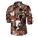 MRULIC Herren Shirt Kentkragen Langarm Shirts Businesshemd Freizeithemd Oktoberfest Karnevals kostüm(C-Braun,EU-52/CN-3XL)