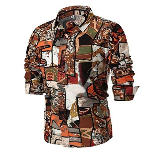 (MRULIC Herren Shirt Kentkragen Langarm Shirts Businesshemd Freizeithemd Oktoberfest Karnevals kostüm(C-Braun,EU-48/CN-XL))