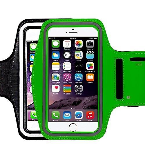 [4Pack] Premium Wasserabweisend Sport Armband mit Schlüsselfach für iPhone 7, 6, 6S (14cm), Galaxy, S6, S7, S3/S4, iPhone 5/5C/5S, Paket mit Displayschutzfolie vollständigen Zugriff auf Touchscreen Dvd-player-case