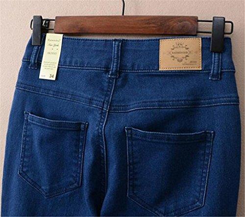 Wgwioo Bleu Denim Confort Lumière Trompette Vintage Jeans Relaxed Fit Jambe Droite Femmes Détruit Couleur Unie Pantalon Deep Pocket Slim deep blue