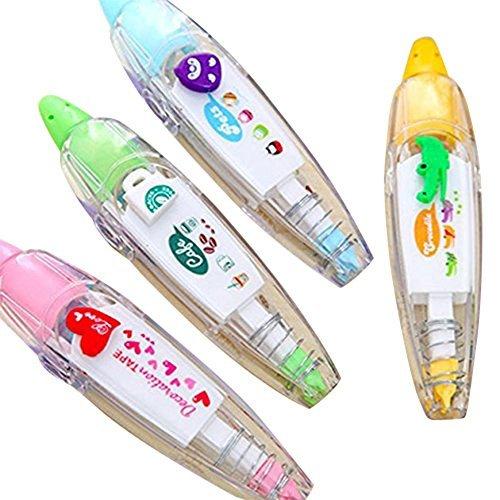 STAR SSTO 4pcs nettes Neuheit-Aufkleber-Maschinen-Dekoration-Klebeband DIY Dekoration-Anstrich-Feder-Korrektur-Band Hübsche Muster für Kinder -