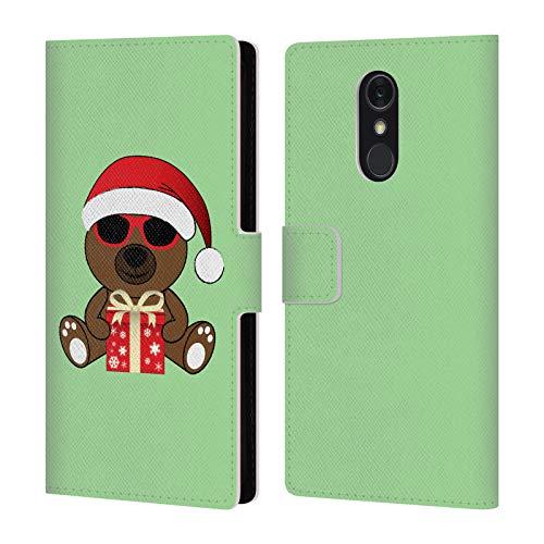 Head Case Designs Offizielle PLdesign Santa BAER Mit Sonnenbrillen Weihnachten Brieftasche Handyhülle aus Leder für LG Q Stylus/Q Stylo 4