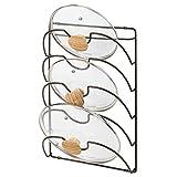 mDesign porte couvercle vertical en métal avec 5 compartiments - support ustensiles cuisine pratique pour couvercles de casserole et poêle - accessoire rangement de cuisine maniable en métal