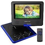 """DBPOWER 7.5"""" Lecteur DVD Portable avec écran orientable, compatibilité carte SD et interface USB, lit directement les formats MP4, AVI, RMVB, MP3 et JPEG (Bleu, 7.5)"""