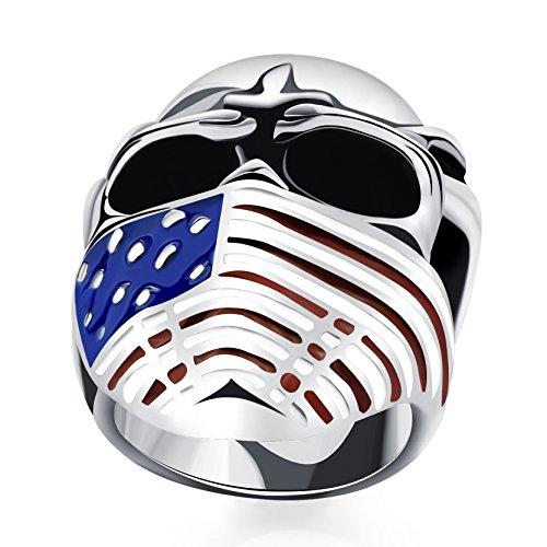 Cool Schädel Kopf Edelstahl Ringe mit American Flag Maske für Männer Punk Gothic Bands (5 Dollar Kostüm Ideen)