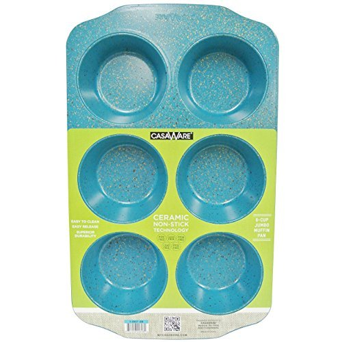 casaware Jumbo Muffin Pan 6Tassen Keramik Antihaftbeschichtung Blue Granite 6 Jumbo Muffin Pan