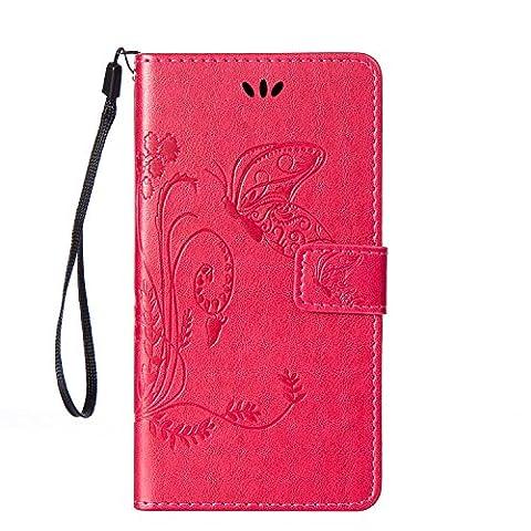 Housse Samsung S3, SpiritSun Etui en PU Cuir Portefeuille Coque Protection pour Samsung Galaxy S3 i9300 Fleur et Papillon Modèle Case avec Fonction Support Stand (Rose)