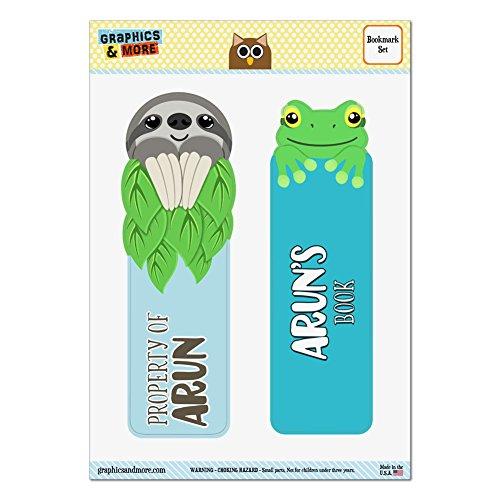 lot-de-2-lamine-brillant-paresseux-et-grenouille-signets-noms-male-ar-ay-arun