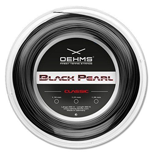 Oehms Black Pearl Classic   200m-Rolle   Ø 1,18/1,23/1,26 mm   monofile Co-Polyester Tennissaite (1.18 mm)