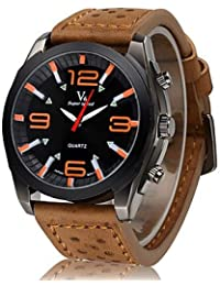 Relojes Hermosos, Moda dial negro correa de cuero de los hombres del reloj V6 ocasional militar ( Color : Color Caqui )