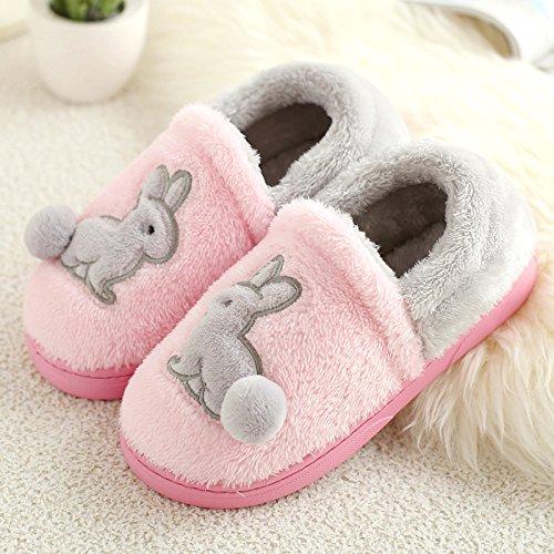 DogHaccd pantofole,Il cotone pantofole pacchetto femmina con una camera da letto, un antiscivolo cartoon spessa incantevole soggiorno di un paio di scarpe di cotone caldo maschio Rosa3