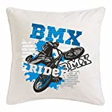 Reifen-Markt Kissenbezug 40x40cm BMX Rider Bicycle Motocross BONANZARAD Fahrrad Freestyle Mountainbike aus Mikrofaser in Weiß