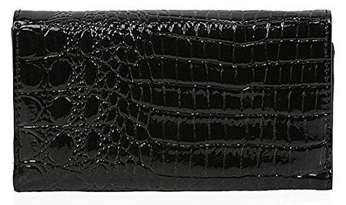 Kukubird Leone medaglione coccodrillo Texture Matinee grande borsa Black Purse