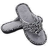 HomeTop Women's Leopard Coral Fleece Memory Foam Spa Thong Flip-Flop Indoor / Outdoor House Slippers (6-7.5 UK / Large, Leopard/Gray)