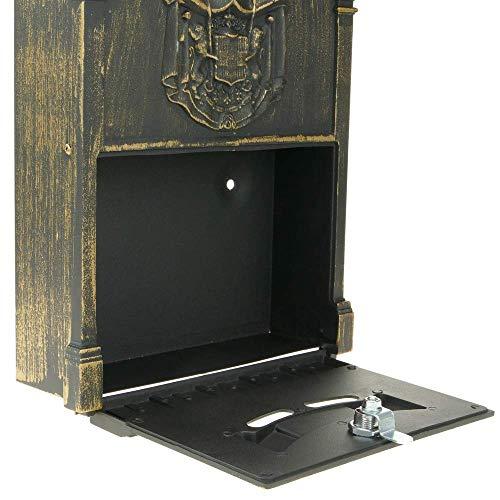 PrimeMatik – Briefkasten Postkasten Retro Antik Vintage metallische Schwarze Oxid für wallmount - 5