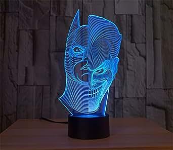 SmartEra® Two Face Man Joker und Batman 3D Abstrakt Visuelle 7 Arten von Farben ändern Touch Tasten USB Schreibtischlampe