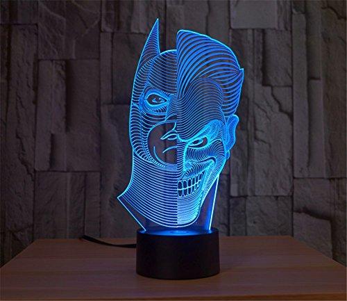 SmartEra® Two Face Man Joker und Batman 3D Abstrakt Visuelle 7 Arten von Farben ändern Touch Tasten USB Schreibtischlampe (Batman-c)