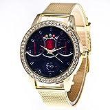 Dilwe Armbanduhr, stilvolle Uhr mit rundem Zifferblatt und Luxusarmband für Unisex