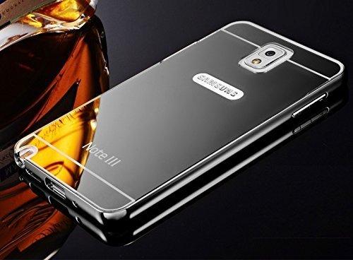 AEMA (TM) Luxury Metal Bumper + Acrylic Mirror Back Cover Case For SAMSUNG GALAXY NOTE 3 GREY