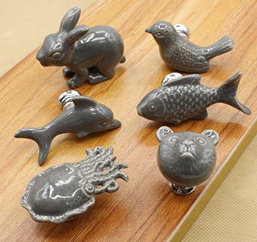 6 Tiradores pomos ideales animales de porcelana gris vintage pomo armario restauracion muebles comoda alacenas cajones de OPEN BUY