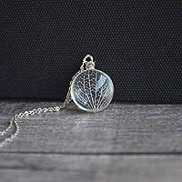 Kábala Árbol de la vida Real Flores Transparente Vaso Colgante Plata Esterlina 925 Cadena Collares