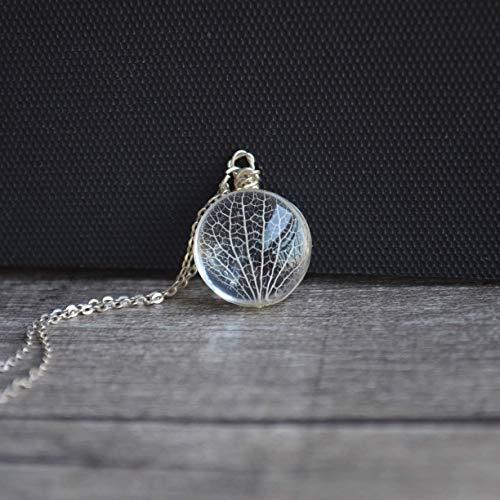 Kabbala Baum des Lebens Blatt Ader Echte Blumen Glas 925 Sterling Silber Halsketten mit Anhänger