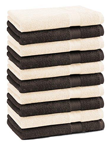 Betz Lot de 10 serviettes débarbouillettes lavettes taille 30x30 cm en 100% coton Premium couleur marron foncé et beige