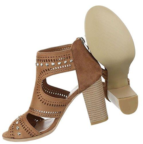 Damen Sandaletten Schuhe Pumps Abendschuhe Elegant Party Club High-Heel Nieten Besetzte High Heels Schwarz Camel 36 37 38 39 40 41 Camel
