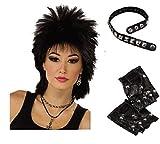 Perruque Punk Noir Rocker Gants & 1980s Fancy Dress Kit Collier ras de cou