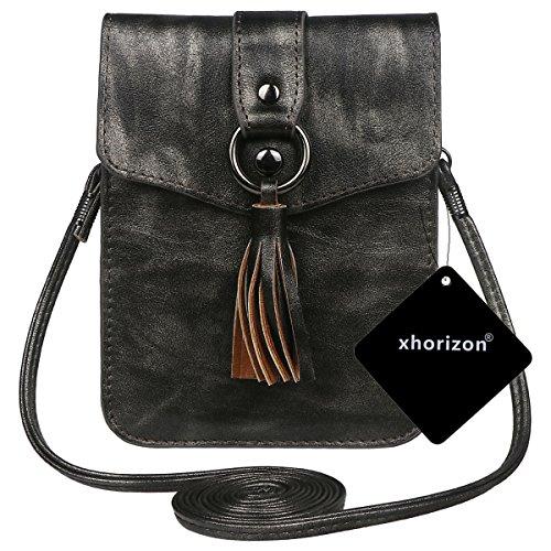 xhorizon PU-Leder Crossbody Single Schultertasche, Mini Crossbody Schulter Handytasche Geldbörse Geldbörse mit Quaste Anhänger #5 #8
