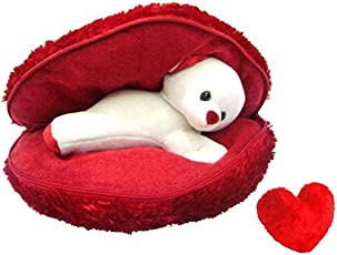 Saugat Traders Plush Teddy Cushion with Small Heart (Red)