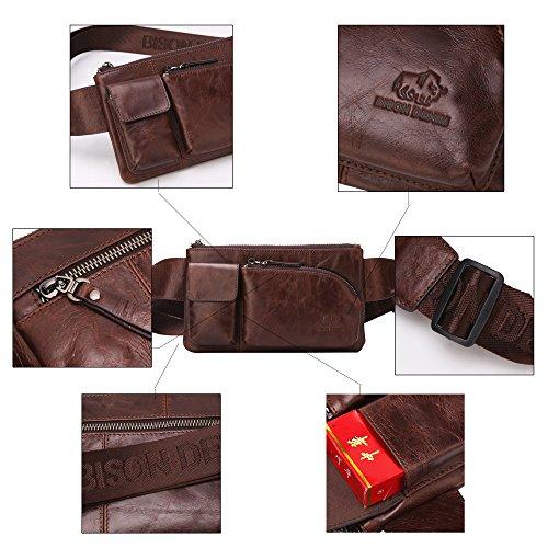 Echtleder Gürteltasche Bauchtasche Handtasche Vintage Retro Hüfttasche Schultertasche Bosom Chest Bag Geldbörse für Damen Herren Braun/W2444
