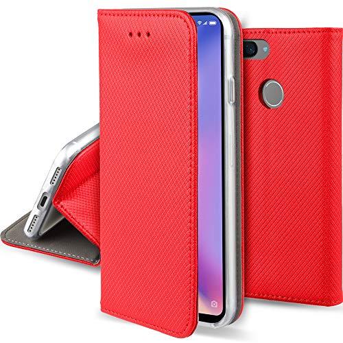Moozy Funda para Xiaomi Mi 8 Lite, Rojo - Flip Cover Smart Magnética con Stand Plegable y Soporte de Silicona