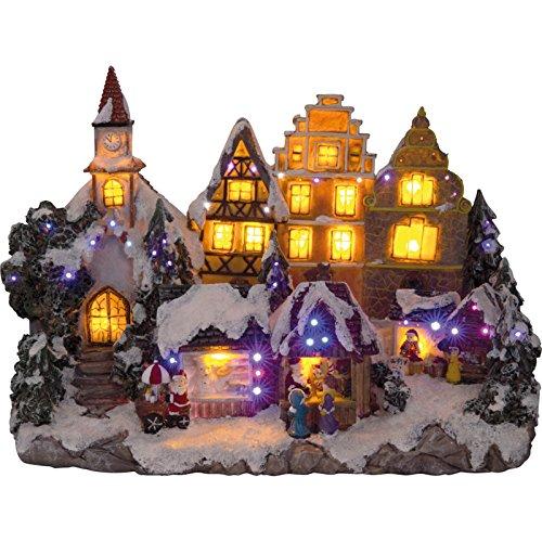 insatech LED Weihnachtliches Dorf mit Weihnachtsmarkt beleuchtetes Weihnachtshaus Weihnachtsstadt