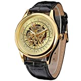Bovake Mens Watches Top Brand Luxury Hollow Skeleton Automatic Watch Men Watch Clock (Gold)