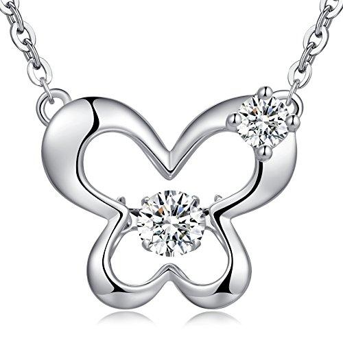 Argent sterling Dancing Chaîne 45,7cm avec diamant CZ Pendentif, Lovely Owl Collier, collier Cœur, étoile Collier Papillon et collier, cadeau Saint Valentin pour femme, filles Butterfly Necklace