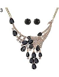 Juego de collar y pendientes de lágrima con diseño de pavo real para novia, color negro