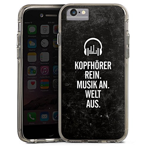 Apple iPhone 7 Plus Bumper Hülle Bumper Case Glitzer Hülle Music Musik Phrases Bumper Case transparent grau