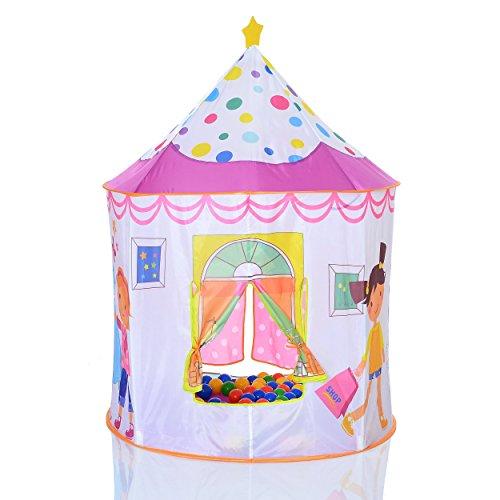 Pop Up Tienda con forma de castillo de princesas con 100 bolas para casa y exterior plegable
