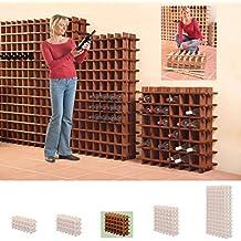 Sistema Botellero modular PRIMAVINO, máx. 24 botellas, marrón, apilable / ampliable - alt. 54 x anch. 75 x pr. 22 cm