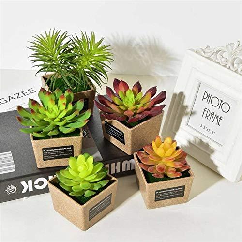 WEWE Künstliche Sukkulentenpflanzen,Rasenteppich gefälschte Pflanzen Mit Grauen Keramik Pflanzer Für Dekoration Topf-a 6.6x5.5x9cm(3x2x4inch) (Pflanzen Für Die Keramik-töpfe Zoll 4)
