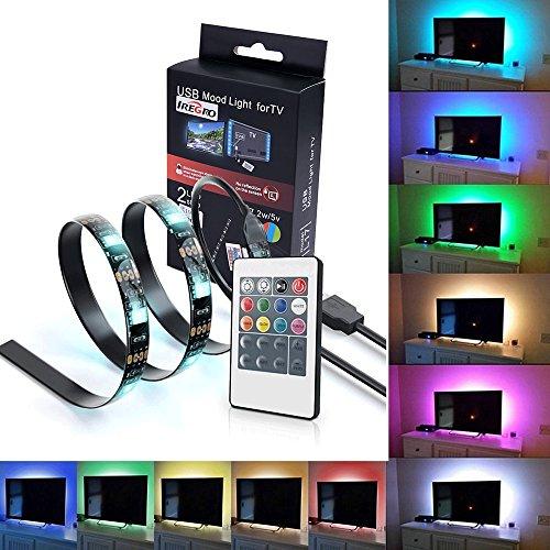 iRegro Tiras LED Iluminación 2 PC 50cm para HDTV USB Powered TV retroiluminación, 7.2W 5V Home Theater Accent Kit con mando a distancia, Multi Color luz tira de Led RGB de iluminación