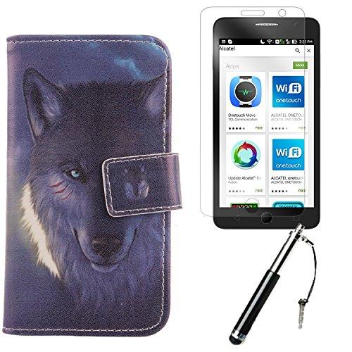 """Lankashi 3in1 Set Lovely Design PU Cuir Coque Case Pour Alcatel One Touch Pop Star 5070D 4G 5"""" Housse Etui Cover Flip Verre Trempé Vitre de Protection écran Rétractable Mini Tactiles Capacitif Stylus  Wolf"""