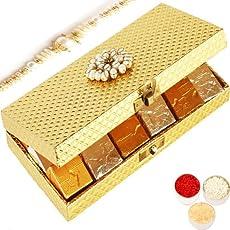 Ghasitaram Gifts Rakhi Gifts for Brother Rakhi Chocolates - Golden Mix Nuts Chocolate Box with Pearl Rakhi