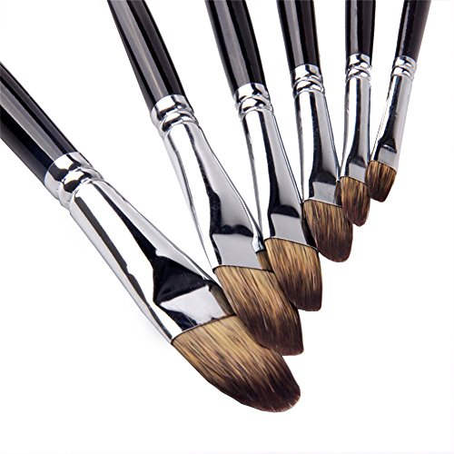 Set di 6 pennelli a lingua di gatto con setole di mangusta e manico in legno di betulla, per pittura ad acquerello e acrilico, 6misure, per bambini e principianti della pittura professionale