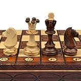Schach Schachspiel: Junior European International - Schachfiguren & Schachbrett aus Holz - Handgefertigt in Polen