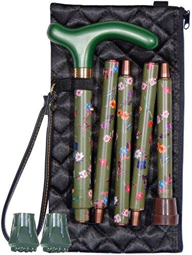 Preisvergleich Produktbild Faltbarer Gehstock für die Handtasche, für Damen – Grün, Blumenmuster – Mit Gestepptem Abendetui, Handschlaufe und Zwei Ersatz-Stockkapseln - Elegantes Design für die Handtasche (Hochwertiges Set)