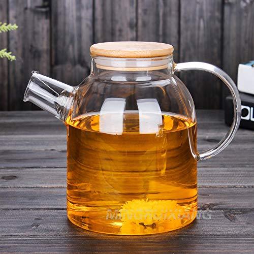 Yougernok Teekanne Aus Glas 1.6L Große Kapazität Hitzebeständige Glas Kaltwasserflasche Gefrorene Saftkrug Wasserflasche Glas Tee Set Glas Blume Teekanne