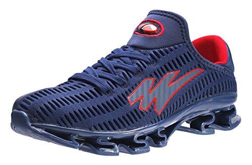 JOOMRA Herren Athletische Runners Sport Laufschuhe Freizeit Mode Sneaker Lightweight Trainers Schuh männer für Das Training auf Der Straße Blau Rot 42 EU